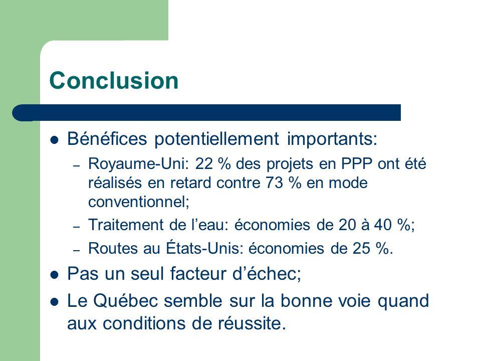 Conclusion Bénéfices potentiellement importants: – Royaume-Uni: 22 % des projets en PPP ont été réalisés en retard contre 73 % en mode conventionnel; – Traitement de leau: économies de 20 à 40 %; – Routes au États-Unis: économies de 25 %.