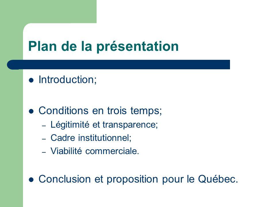 Plan de la présentation Introduction; Conditions en trois temps; – Légitimité et transparence; – Cadre institutionnel; – Viabilité commerciale.