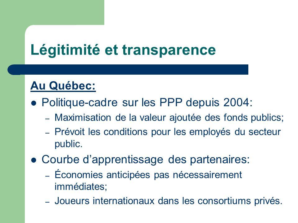 Légitimité et transparence Au Québec: Politique-cadre sur les PPP depuis 2004: – Maximisation de la valeur ajoutée des fonds publics; – Prévoit les conditions pour les employés du secteur public.