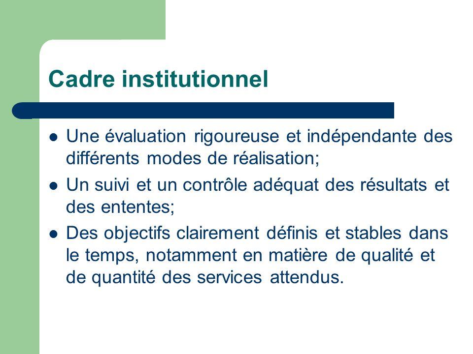 Cadre institutionnel Une évaluation rigoureuse et indépendante des différents modes de réalisation; Un suivi et un contrôle adéquat des résultats et des ententes; Des objectifs clairement définis et stables dans le temps, notamment en matière de qualité et de quantité des services attendus.