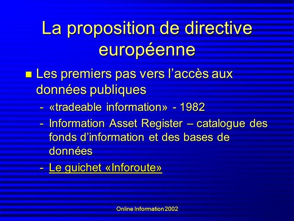 Online Information 2002 La proposition de directive européenne Les premiers pas vers laccès aux données publiques Les premiers pas vers laccès aux don