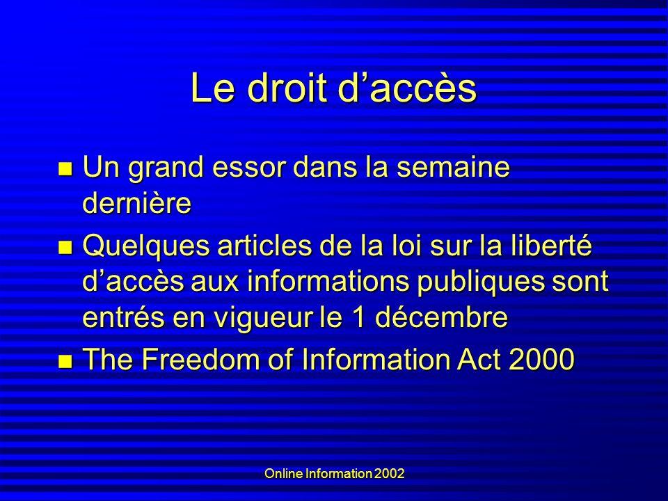 Online Information 2002 Le droit daccès Un grand essor dans la semaine dernière Un grand essor dans la semaine dernière Quelques articles de la loi su
