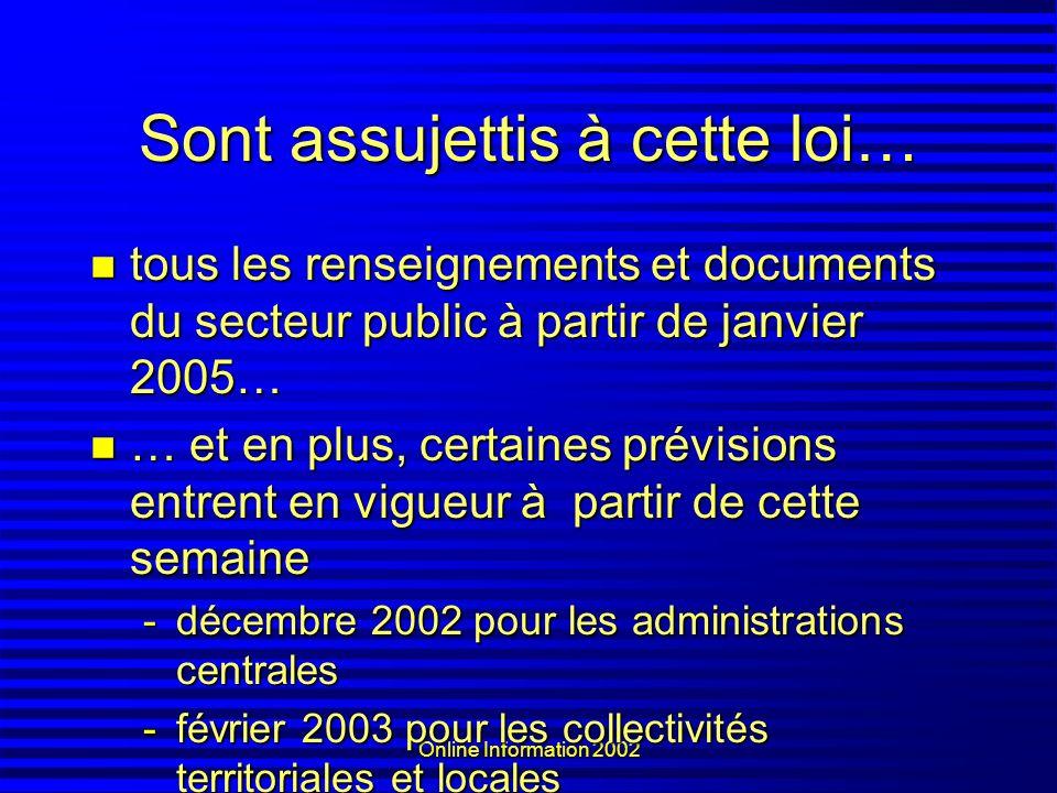 Online Information 2002 Sont assujettis à cette loi… tous les renseignements et documents du secteur public à partir de janvier 2005… tous les renseig