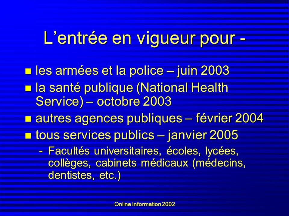 Online Information 2002 Lentrée en vigueur pour - les armées et la police – juin 2003 les armées et la police – juin 2003 la santé publique (National