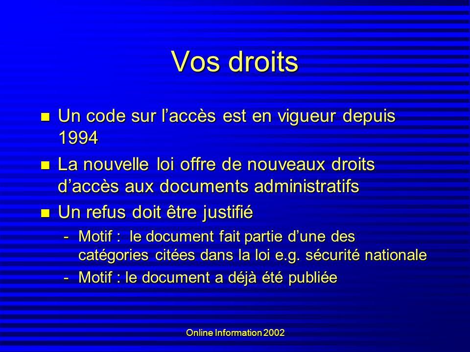 Online Information 2002 Vos droits Un code sur laccès est en vigueur depuis 1994 Un code sur laccès est en vigueur depuis 1994 La nouvelle loi offre d
