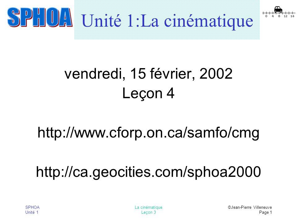 SPHOA Unité 1 La cinématique Leçon 3 ©Jean-Pierre Villeneuve Page 1 Unité 1:La cinématique vendredi, 15 février, 2002 Leçon 4 http://www.cforp.on.ca/samfo/cmg http://ca.geocities.com/sphoa2000