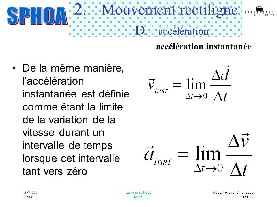 SPHOA Unité 1 La cinématique Leçon 3 ©Jean-Pierre Villeneuve Page 11 2.