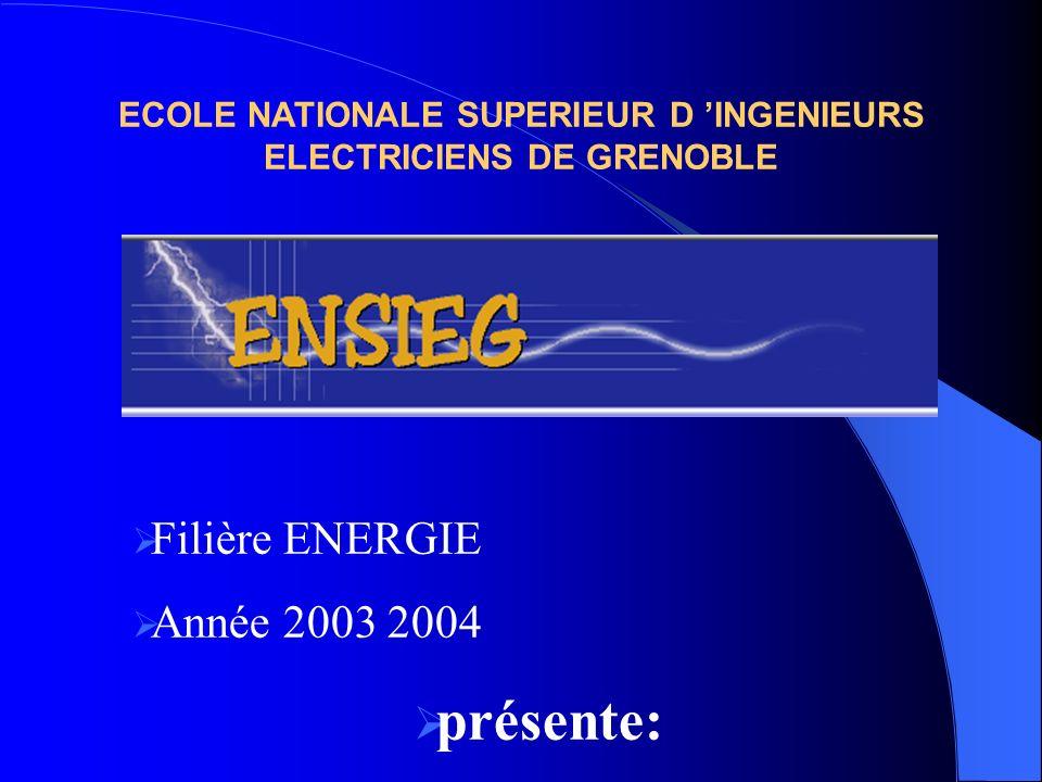 ECOLE NATIONALE SUPERIEUR D INGENIEURS ELECTRICIENS DE GRENOBLE Filière ENERGIE Année 2003 2004 présente: