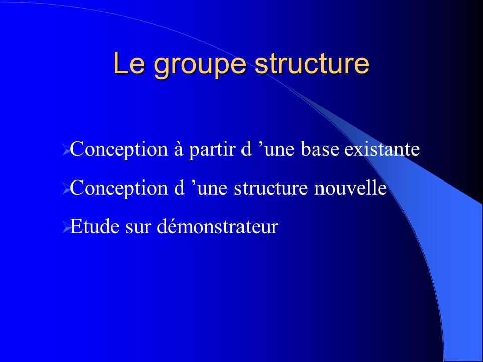 Le groupe structure Conception à partir d une base existante Conception d une structure nouvelle Etude sur démonstrateur