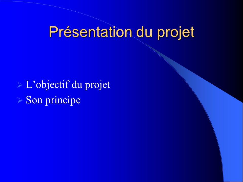 Présentation du projet Lobjectif du projet Son principe