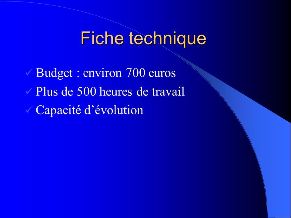 Fiche technique Fiche technique Budget : environ 700 euros Plus de 500 heures de travail Capacité dévolution