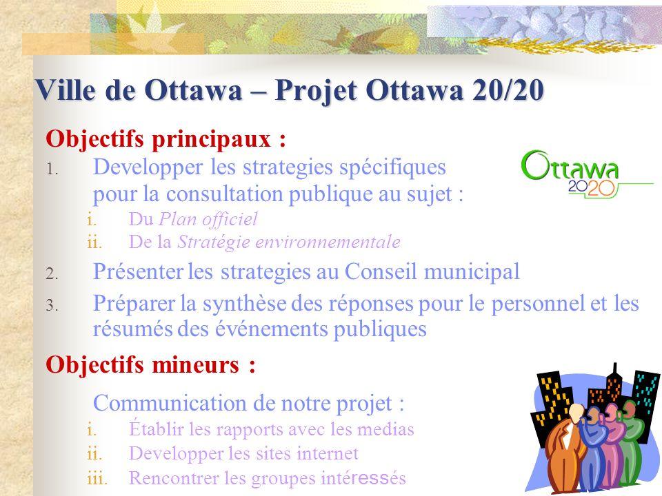 Ville de Ottawa – Projet Ottawa 20/20 Objectifs principaux : 1.