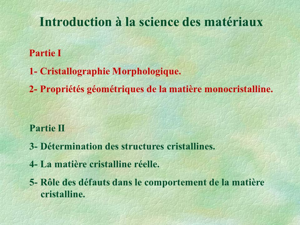 Généralités - Rappels Matériaux amorphesMatériaux Cristallins Organisation des atomes pour former une maille élémentaire.