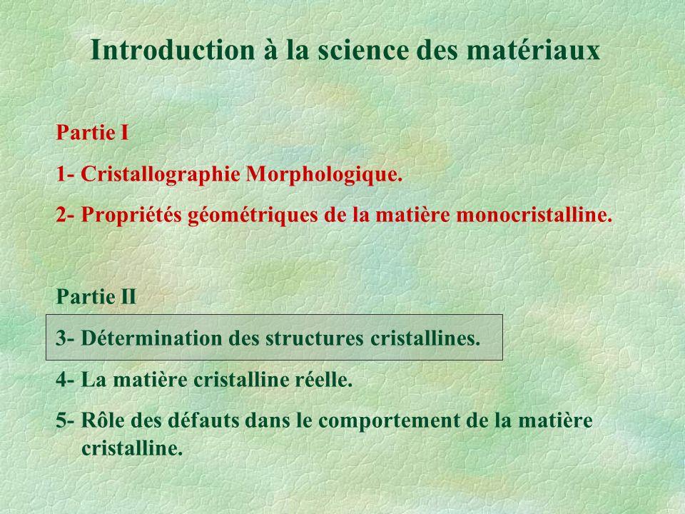 3- Détermination des structures cristallines I-Caractéristiques des rayons X II-Interactions « RX - matières » A- Absorption B- Diffraction III-Détermination des structures cristallines IV-Sphère d Ewald - Application à la microscopie électronique