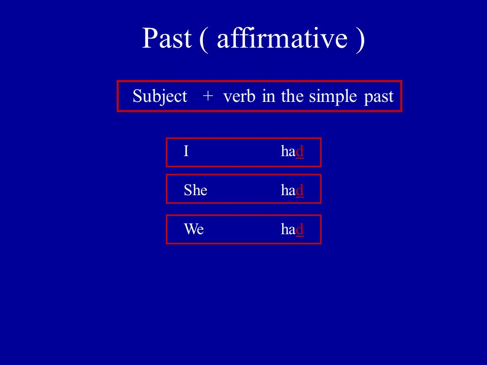 Past ( affirmative ) Subject + verb in the simple past I had She had We had