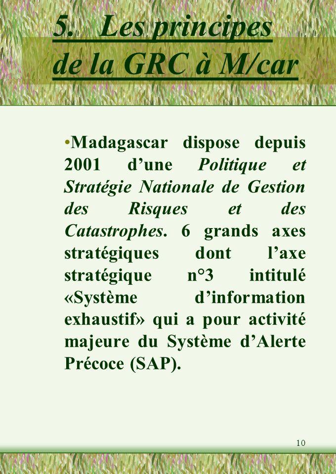 10 5.Les principes de la GRC à M/car Madagascar dispose depuis 2001 dune Politique et Stratégie Nationale de Gestion des Risques et des Catastrophes.