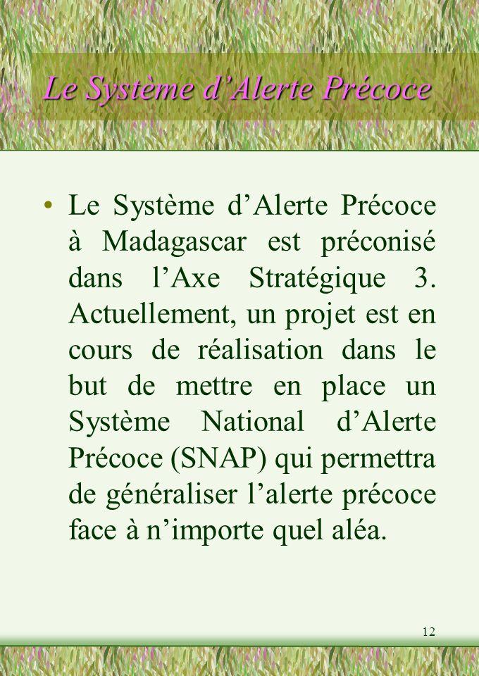 12 Le Système dAlerte Précoce Le Système dAlerte Précoce à Madagascar est préconisé dans lAxe Stratégique 3.