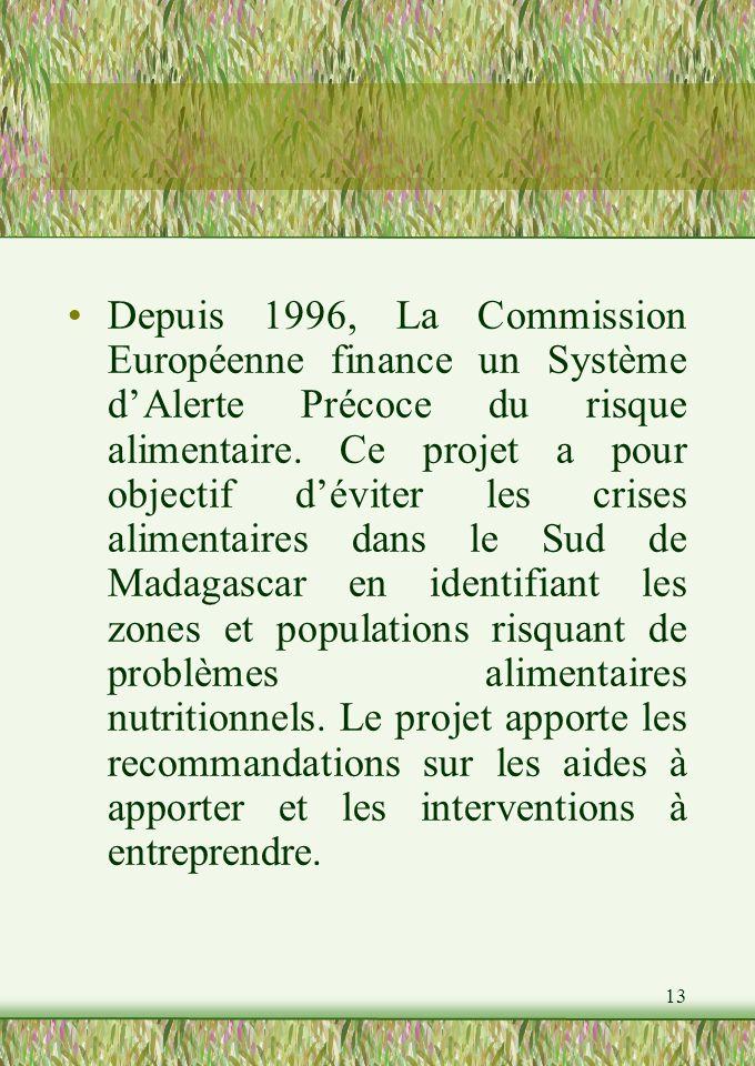 13 Depuis 1996, La Commission Européenne finance un Système dAlerte Précoce du risque alimentaire.