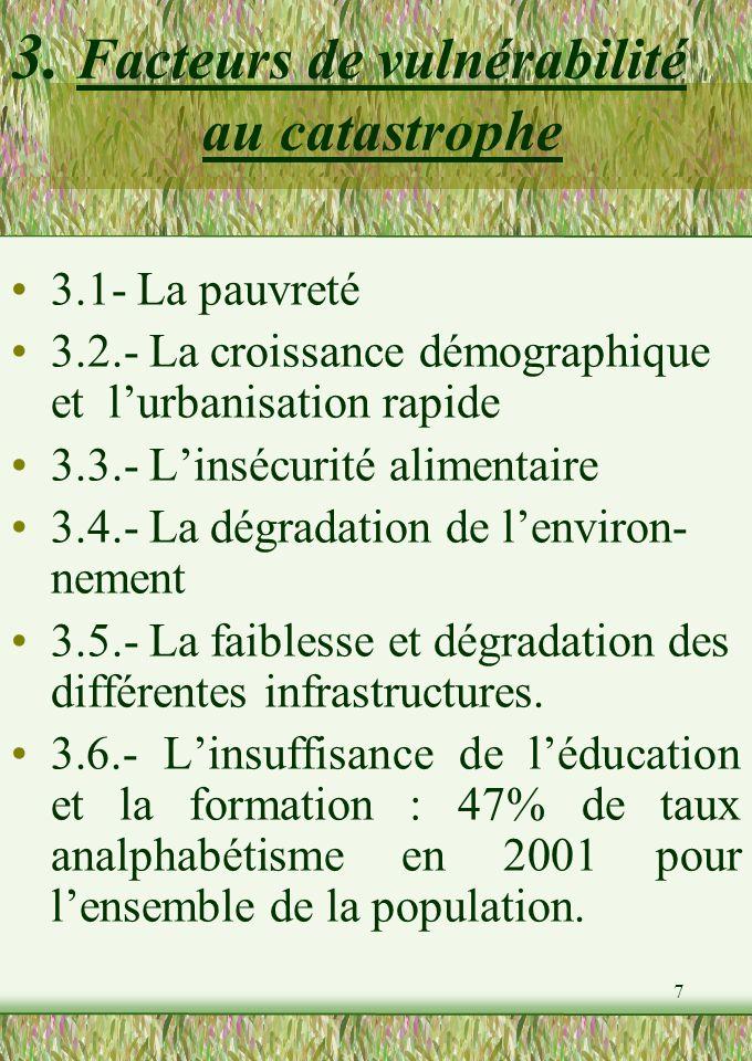 7 3. Facteurs de vulnérabilité au catastrophe 3.1- La pauvreté 3.2.- La croissance démographique et lurbanisation rapide 3.3.- Linsécurité alimentaire
