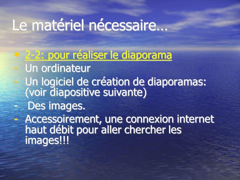 II- Le matériel nécessaire 2.1- Pour projeter un diaporama Un ordinateur relié à une télé+convertisseur télé, ou à un videoprojecteur. Un ordinateur r