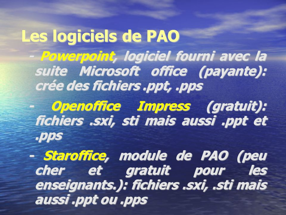 Le matériel nécessaire… 2-2: pour réaliser le diaporama 2-2: pour réaliser le diaporama - Un ordinateur - Un logiciel de création de diaporamas: (voir