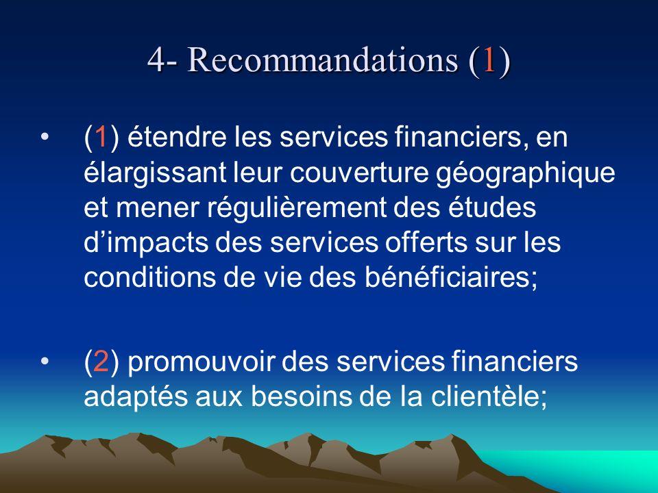 4- Recommandations (1) (1) étendre les services financiers, en élargissant leur couverture géographique et mener régulièrement des études dimpacts des services offerts sur les conditions de vie des bénéficiaires; (2) promouvoir des services financiers adaptés aux besoins de la clientèle;