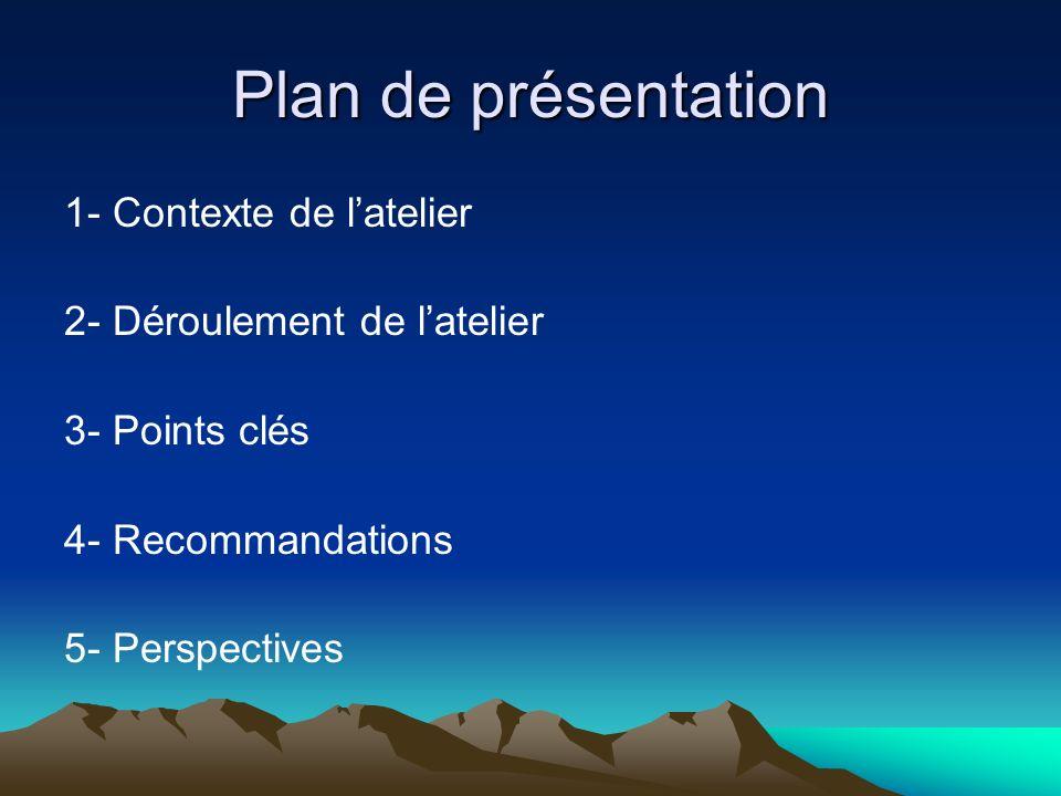 Plan de présentation 1- Contexte de latelier 2- Déroulement de latelier 3- Points clés 4- Recommandations 5- Perspectives