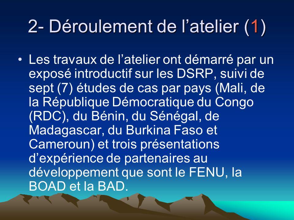 2- Déroulement de latelier (1) Les travaux de latelier ont démarré par un exposé introductif sur les DSRP, suivi de sept (7) études de cas par pays (Mali, de la République Démocratique du Congo (RDC), du Bénin, du Sénégal, de Madagascar, du Burkina Faso et Cameroun) et trois présentations dexpérience de partenaires au développement que sont le FENU, la BOAD et la BAD.