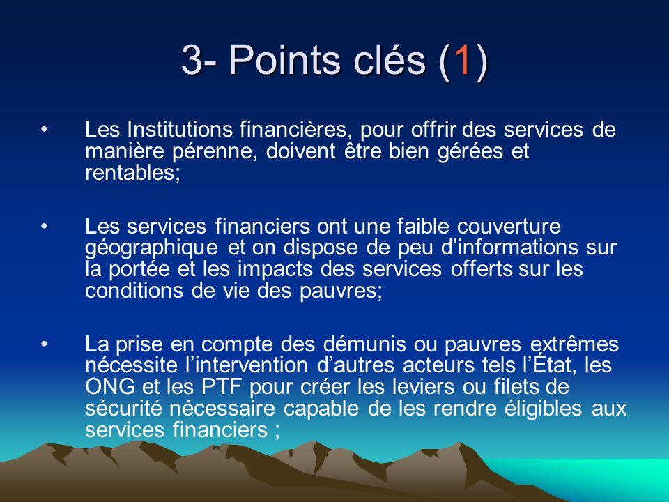 3- Points clés (1) Les Institutions financières, pour offrir des services de manière pérenne, doivent être bien gérées et rentables; Les services fina