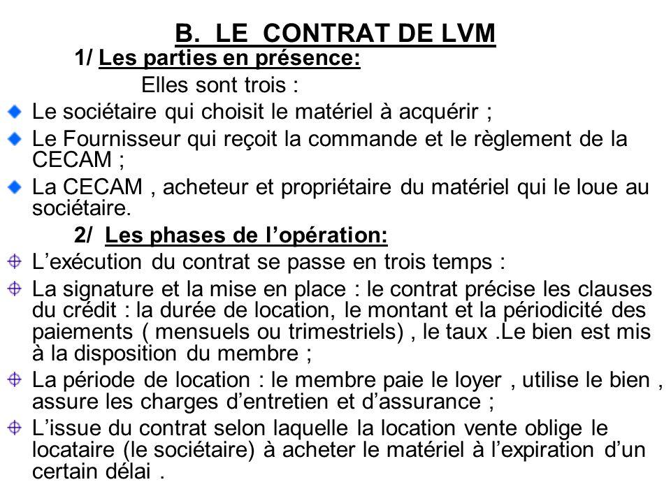 B. LE CONTRAT DE LVM 1/ Les parties en présence: Elles sont trois : Le sociétaire qui choisit le matériel à acquérir ; Le Fournisseur qui reçoit la co