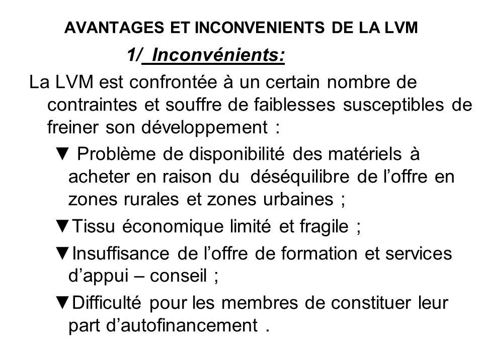 AVANTAGES ET INCONVENIENTS DE LA LVM 1/ Inconvénients: La LVM est confrontée à un certain nombre de contraintes et souffre de faiblesses susceptibles
