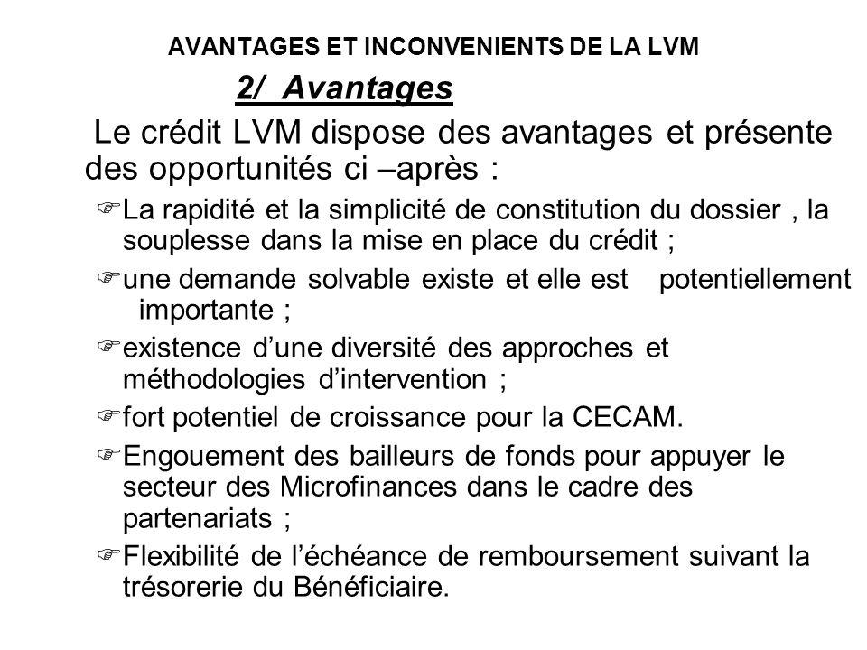 AVANTAGES ET INCONVENIENTS DE LA LVM 2/ Avantages Le crédit LVM dispose des avantages et présente des opportunités ci –après : La rapidité et la simpl