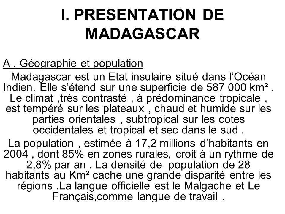 I. PRESENTATION DE MADAGASCAR A. Géographie et population Madagascar est un Etat insulaire situé dans lOcéan Indien. Elle sétend sur une superficie de