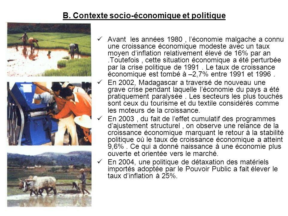 B. Contexte socio-économique et politique Avant les années 1980, léconomie malgache a connu une croissance économique modeste avec un taux moyen dinfl