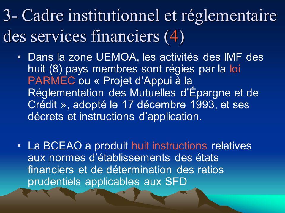 3- Cadre institutionnel et réglementaire des services financiers (4) Dans la zone UEMOA, les activités des IMF des huit (8) pays membres sont régies par la loi PARMEC ou « Projet dAppui à la Réglementation des Mutuelles dÉpargne et de Crédit », adopté le 17 décembre 1993, et ses décrets et instructions dapplication.