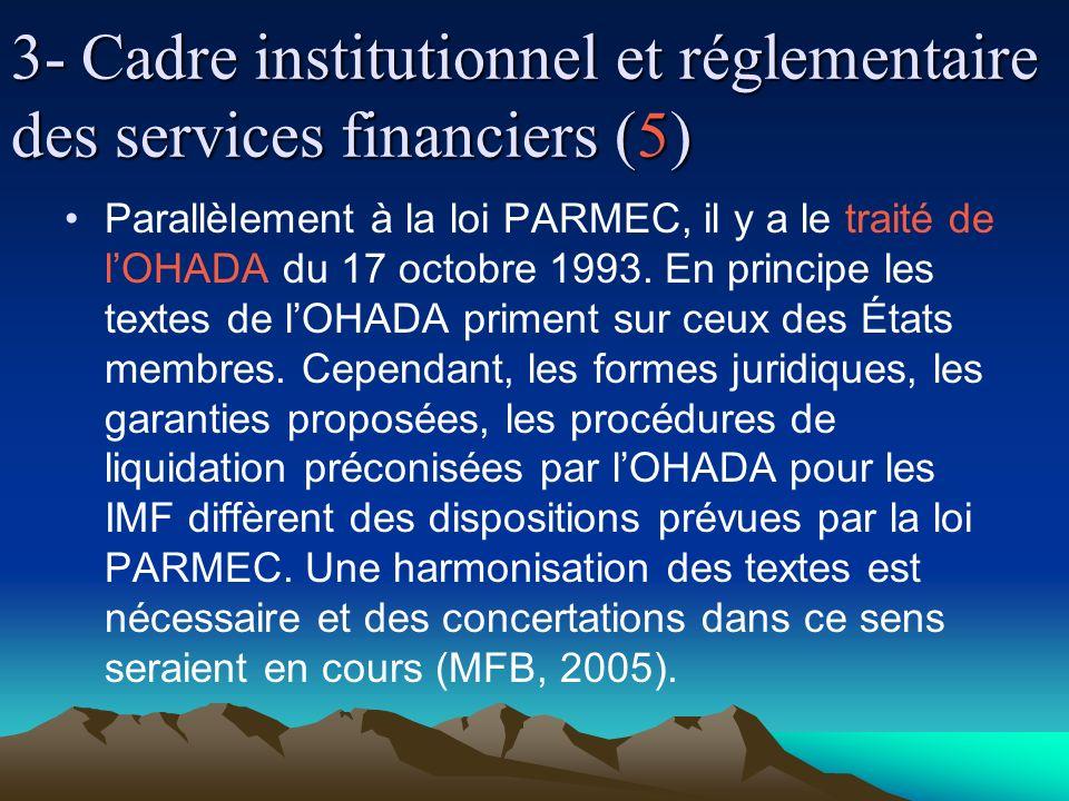 3- Cadre institutionnel et réglementaire des services financiers (5) Parallèlement à la loi PARMEC, il y a le traité de lOHADA du 17 octobre 1993.