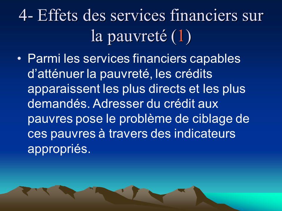 4- Effets des services financiers sur la pauvreté (1) Parmi les services financiers capables datténuer la pauvreté, les crédits apparaissent les plus directs et les plus demandés.