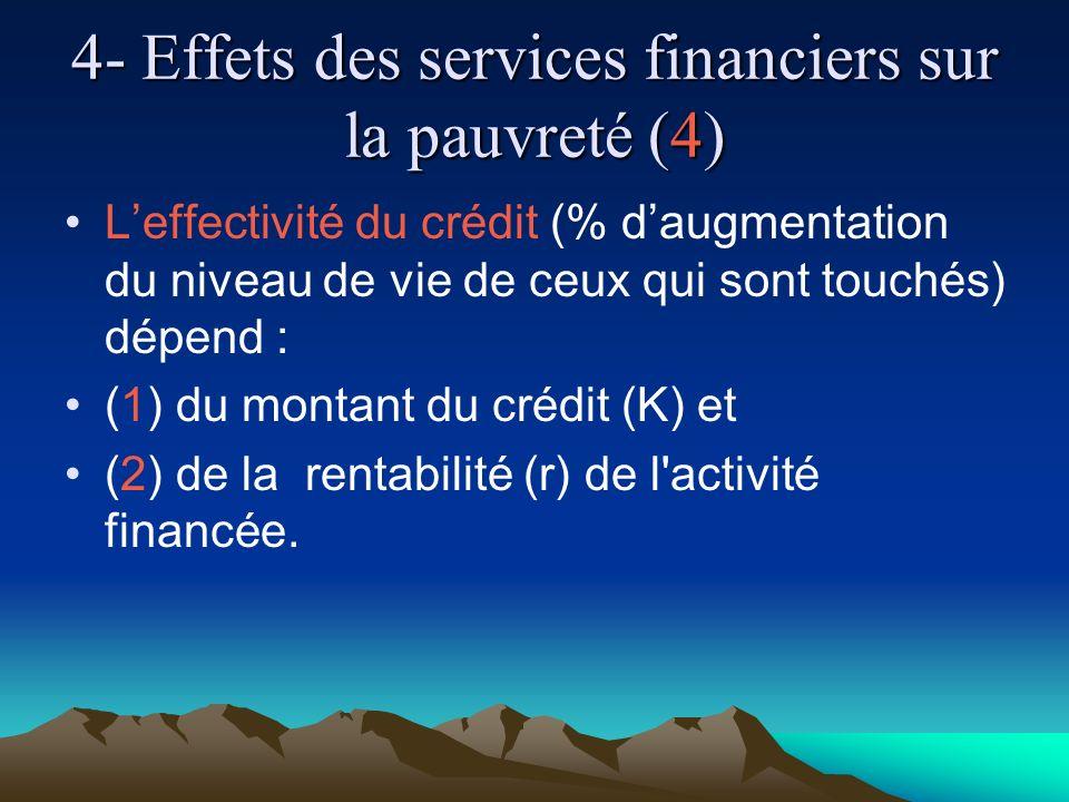 4- Effets des services financiers sur la pauvreté (4) Leffectivité du crédit (% daugmentation du niveau de vie de ceux qui sont touchés) dépend : (1) du montant du crédit (K) et (2) de la rentabilité (r) de l activité financée.