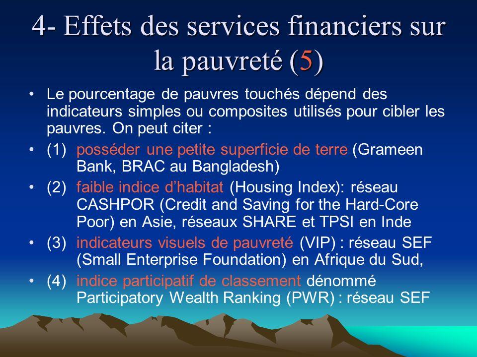 4- Effets des services financiers sur la pauvreté (5) Le pourcentage de pauvres touchés dépend des indicateurs simples ou composites utilisés pour cibler les pauvres.