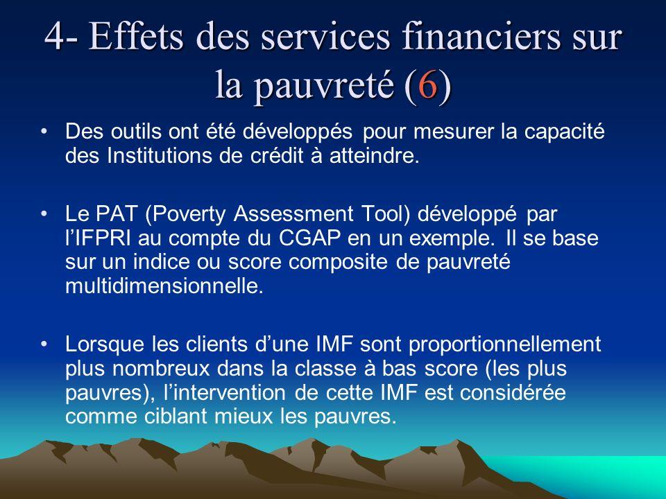 4- Effets des services financiers sur la pauvreté (6) Des outils ont été développés pour mesurer la capacité des Institutions de crédit à atteindre.
