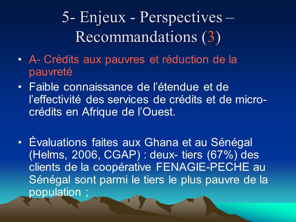 5- Enjeux - Perspectives – Recommandations (3) A- Crédits aux pauvres et réduction de la pauvreté Faible connaissance de létendue et de leffectivité des services de crédits et de micro- crédits en Afrique de lOuest.