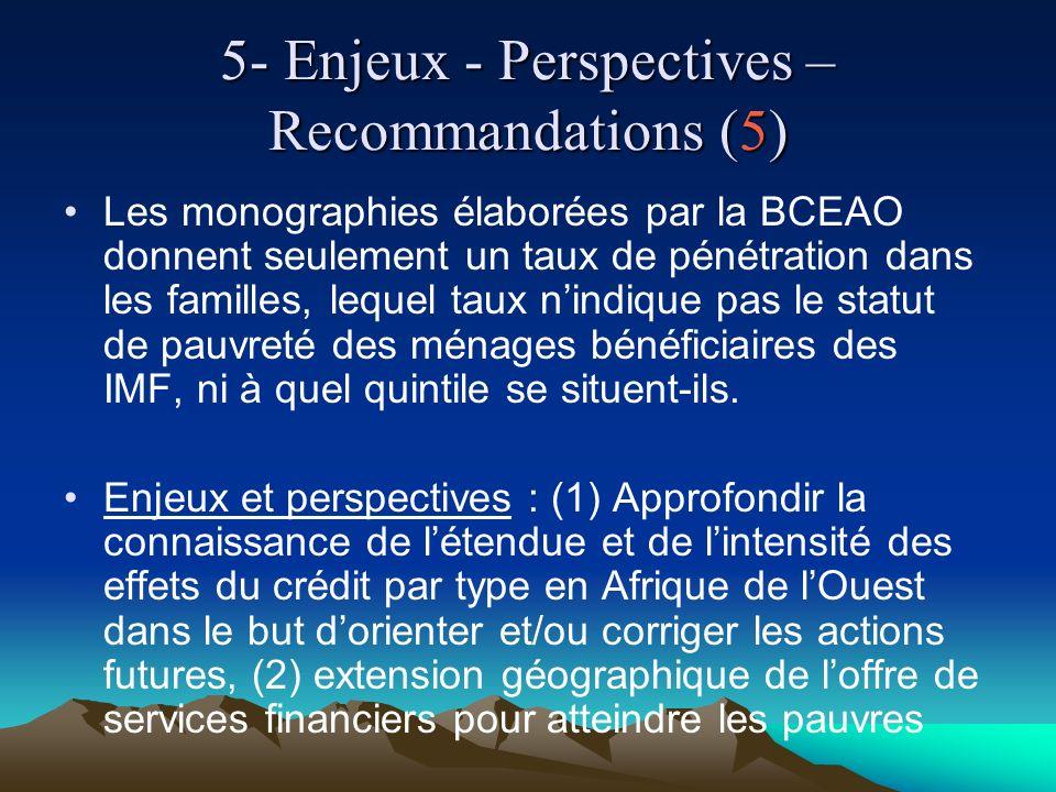 5- Enjeux - Perspectives – Recommandations (5) Les monographies élaborées par la BCEAO donnent seulement un taux de pénétration dans les familles, lequel taux nindique pas le statut de pauvreté des ménages bénéficiaires des IMF, ni à quel quintile se situent-ils.