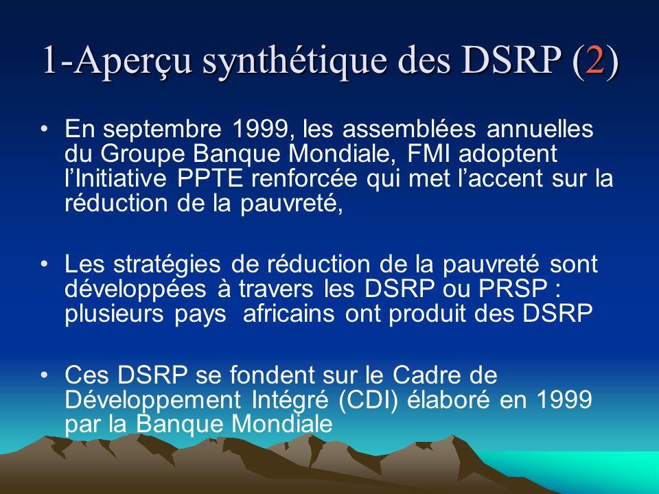 1-Aperçu synthétique des DSRP (3) Les DSRP se fondent sur une approche holistique de développement qui sefforce dintégrer les dimensions sociales, structurelles, humaines, environnementales, macro- économiques afin de promouvoir des politiques plus équilibrées.