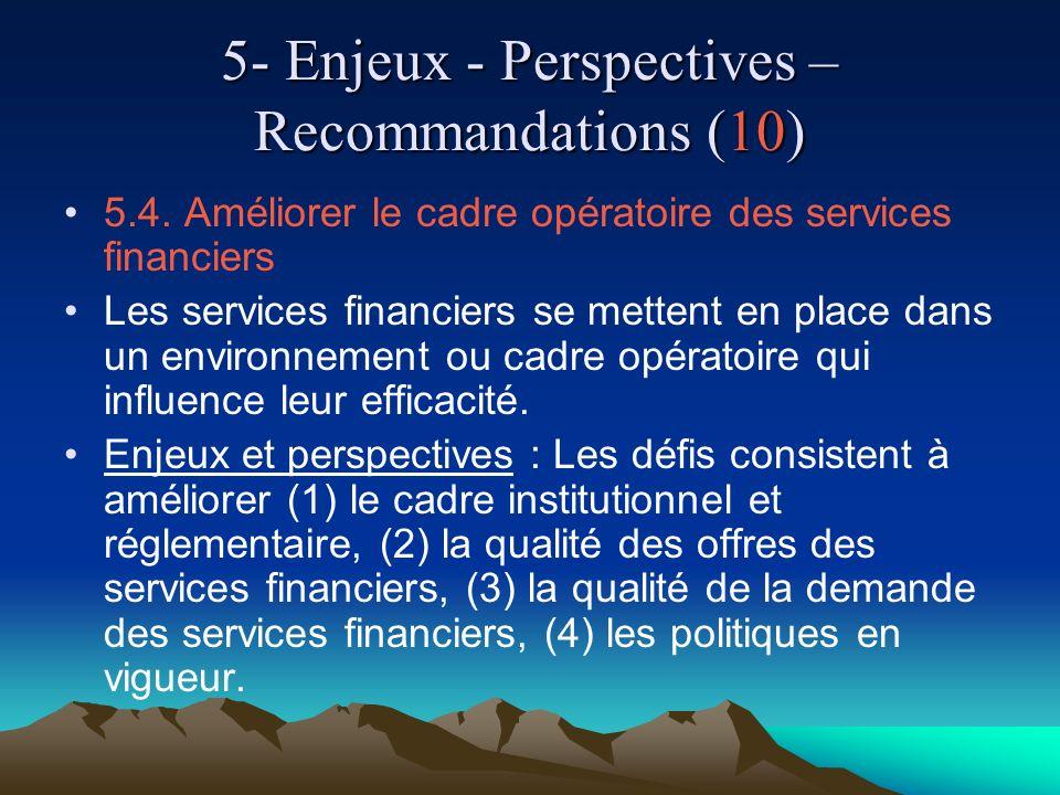 5- Enjeux - Perspectives – Recommandations (10) 5.4. Améliorer le cadre opératoire des services financiers Les services financiers se mettent en place