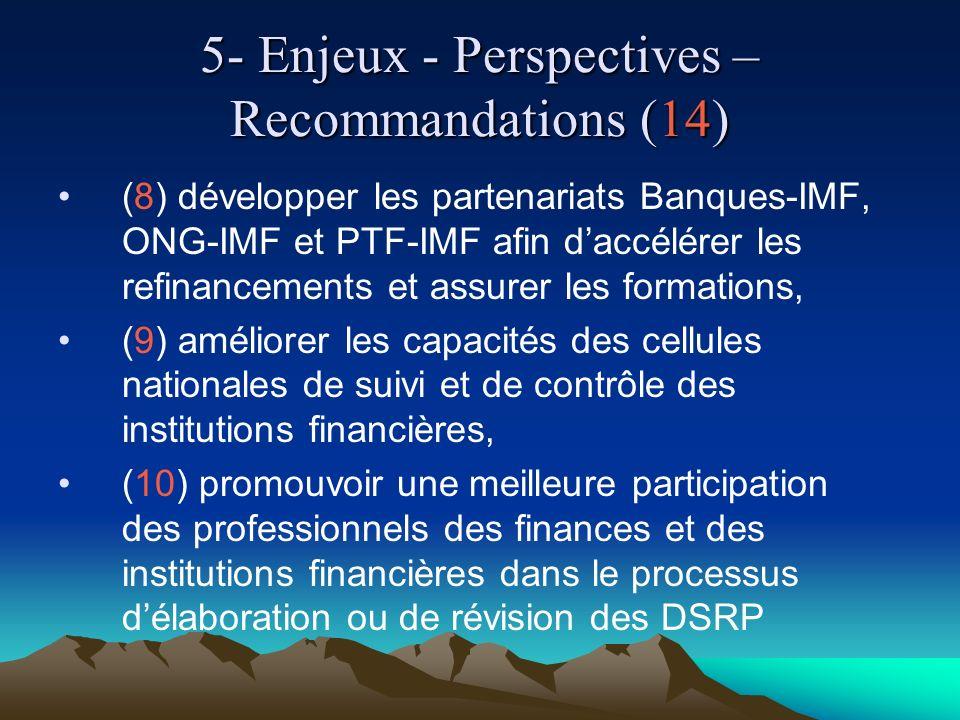 5- Enjeux - Perspectives – Recommandations (14) (8) développer les partenariats Banques-IMF, ONG-IMF et PTF-IMF afin daccélérer les refinancements et assurer les formations, (9) améliorer les capacités des cellules nationales de suivi et de contrôle des institutions financières, (10) promouvoir une meilleure participation des professionnels des finances et des institutions financières dans le processus délaboration ou de révision des DSRP