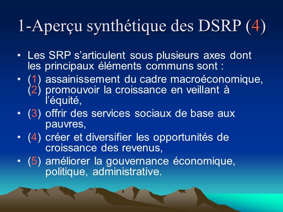 1-Aperçu synthétique des DSRP (4) Les SRP sarticulent sous plusieurs axes dont les principaux éléments communs sont : (1)assainissement du cadre macroéconomique, (2)promouvoir la croissance en veillant à léquité, (3)offrir des services sociaux de base aux pauvres, (4)créer et diversifier les opportunités de croissance des revenus, (5)améliorer la gouvernance économique, politique, administrative.