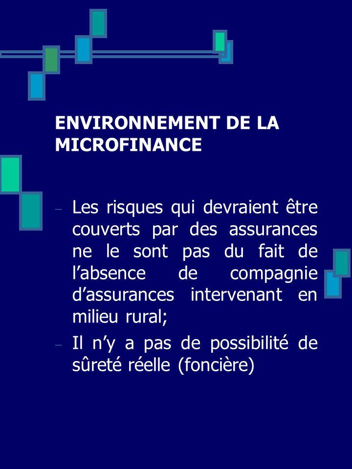 ENVIRONNEMENT DE LA MICROFINANCE Les risques qui devraient être couverts par des assurances ne le sont pas du fait de labsence de compagnie dassurance
