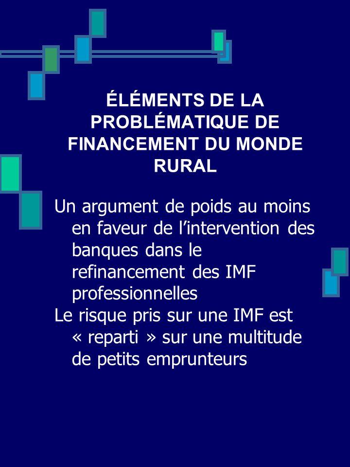 ÉLÉMENTS DE LA PROBLÉMATIQUE DE FINANCEMENT DU MONDE RURAL Un argument de poids au moins en faveur de lintervention des banques dans le refinancement