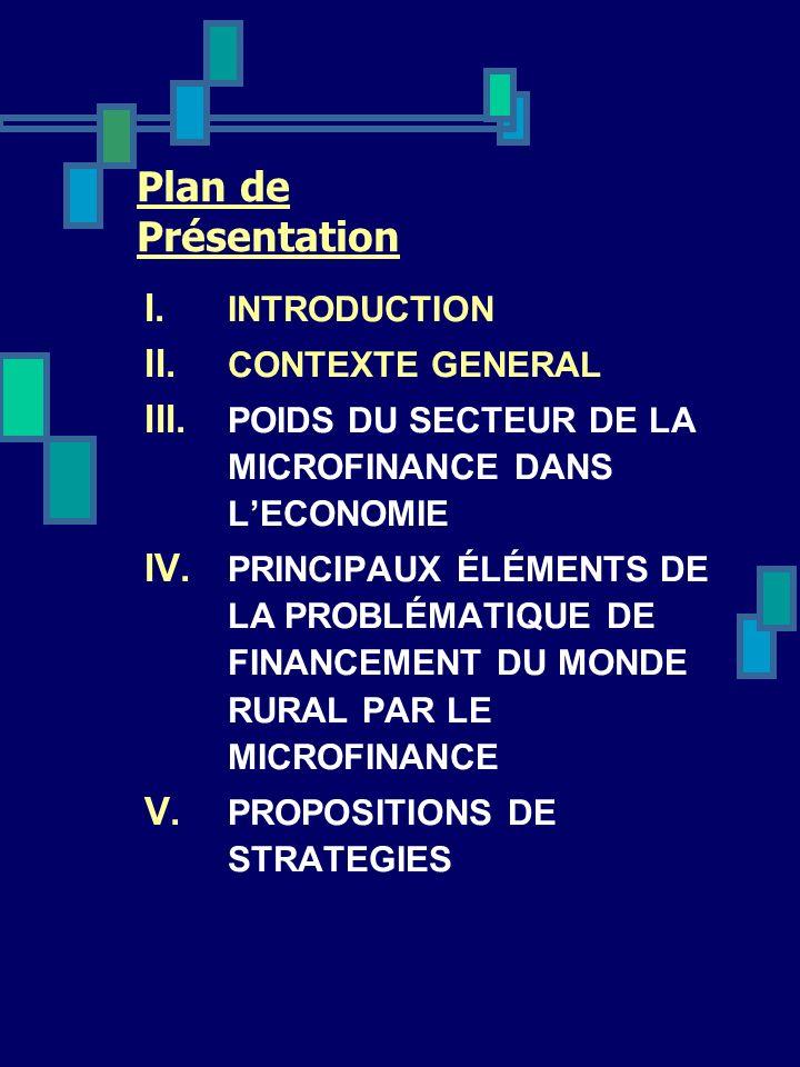 Plan de Présentation I. INTRODUCTION II. CONTEXTE GENERAL III. POIDS DU SECTEUR DE LA MICROFINANCE DANS LECONOMIE IV. PRINCIPAUX ÉLÉMENTS DE LA PROBLÉ