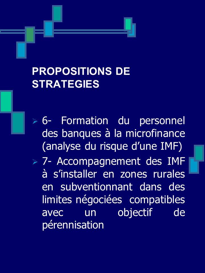 PROPOSITIONS DE STRATEGIES 6- Formation du personnel des banques à la microfinance (analyse du risque dune IMF) 7- Accompagnement des IMF à sinstaller